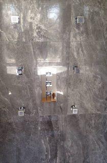 Standing shower with glass door