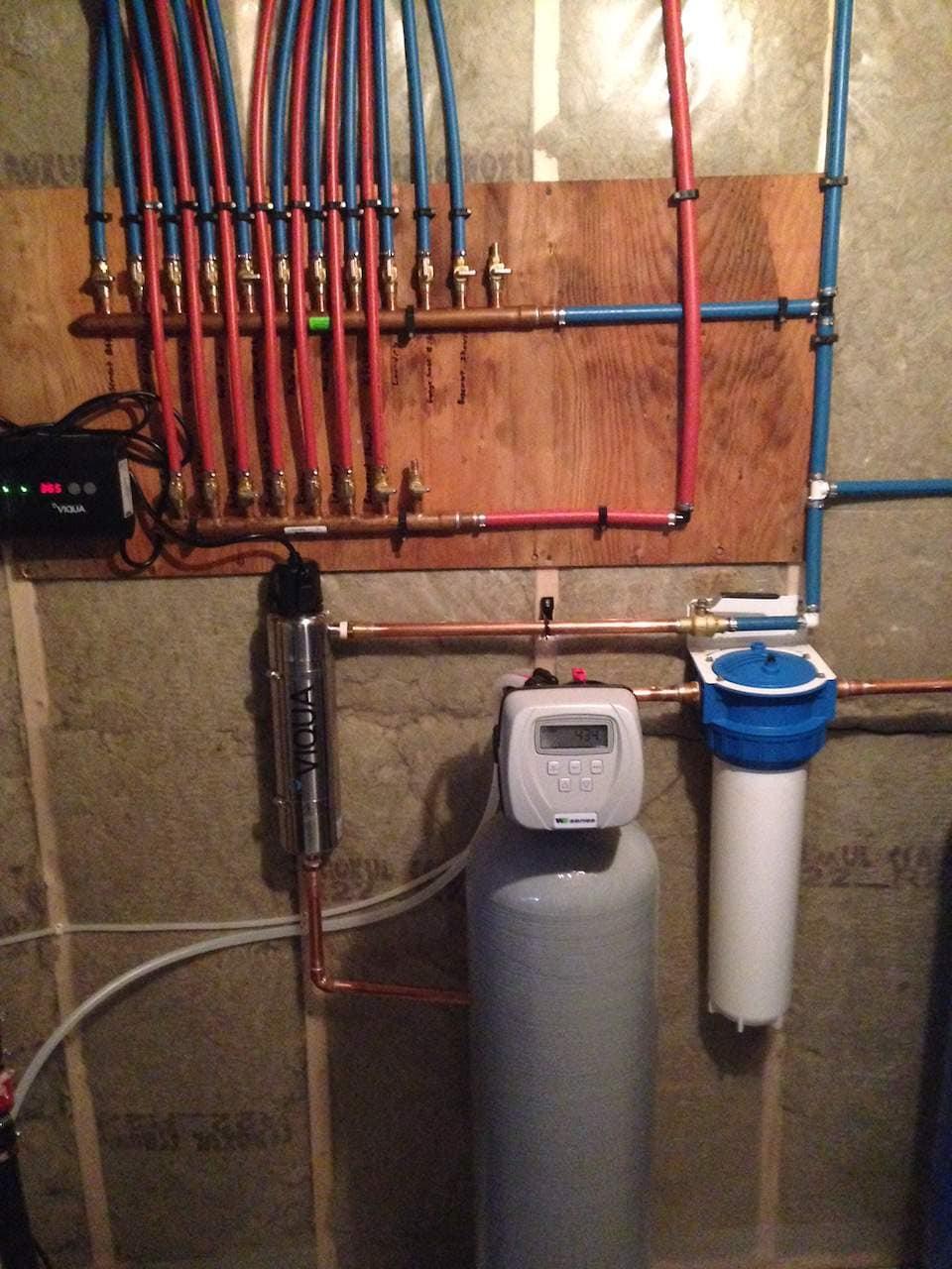 Organized plumbing in the basement