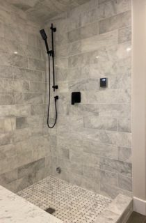 Shiny Tiles in Bathroom Stand up Shower